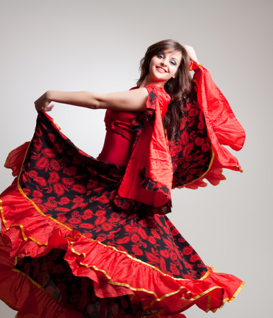 flamenca bailarina: bailarina de flamenco, foto de estudio Foto de archivo