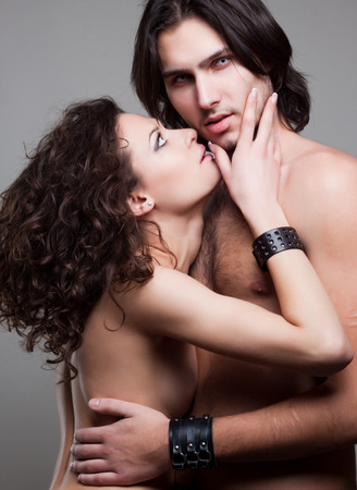 glamorous portrait of a pair of vampire lovers photo