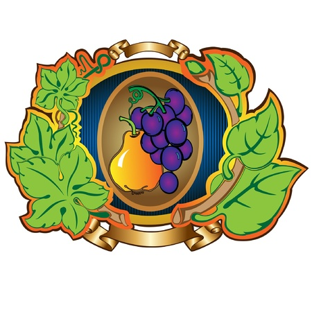 pear grape label background Stock Vector - 16727491