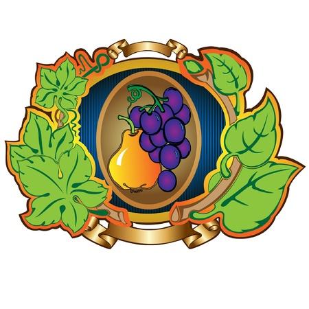 pear grape label background Stock Vector - 16727491
