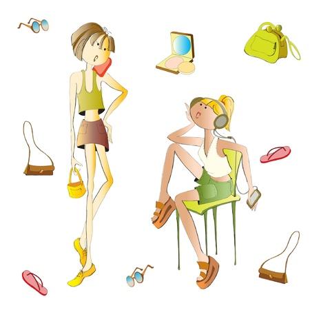 style girl fashion phone Illustration