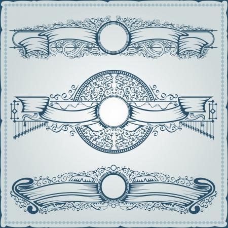 vintage royal banner element engraving