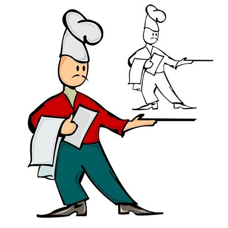 waiter chef cook Illustration