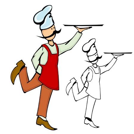 waiter chef cook label Illustration