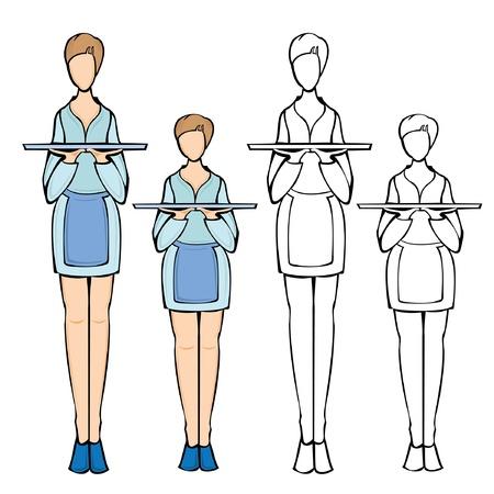 waiter woman Illustration