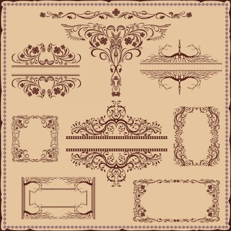vintage flower old plant pattern frame banner