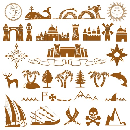 sea pirate map icon Vector