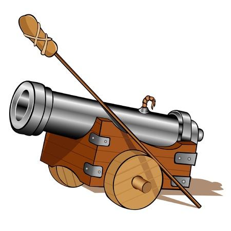 pirate gun cannon icon isolated Illustration