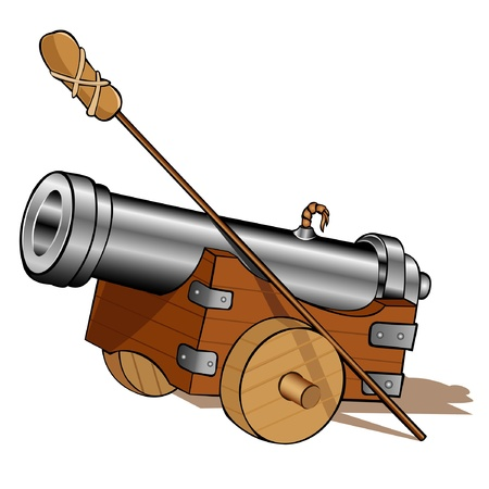 pirate gun cannon icon isolated Illustration