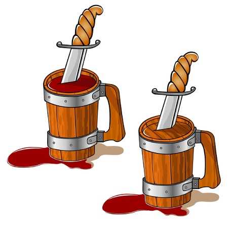 wood mug knife wine Stock Vector - 16727554