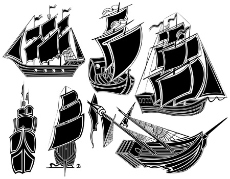 pirate ship boat silhouette compass Stock Vector - 16727557