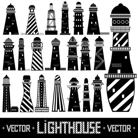 lighthouse set silhouette