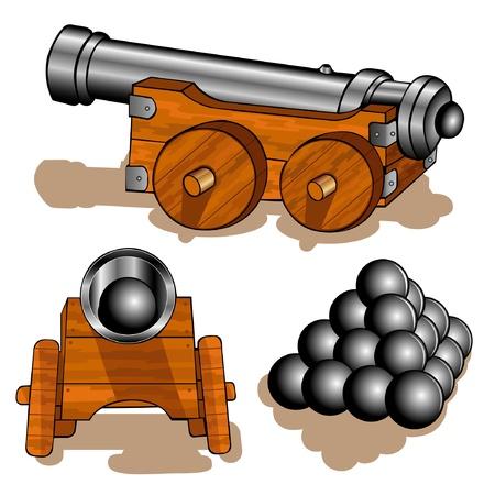 vecchia nave: cannone vecchia palla Vettoriali
