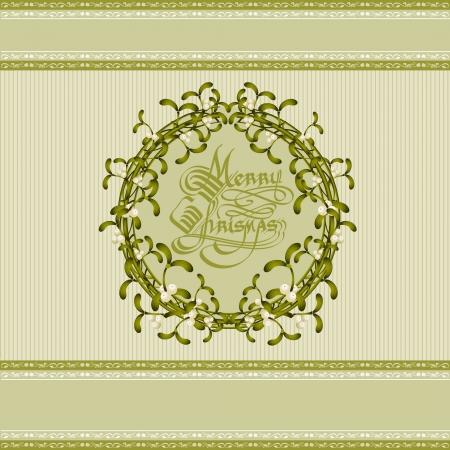 christmas mistletoe wreath background Stock Vector - 16727596