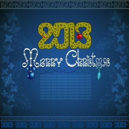 snake christmas blue background Stock Vector - 16727619