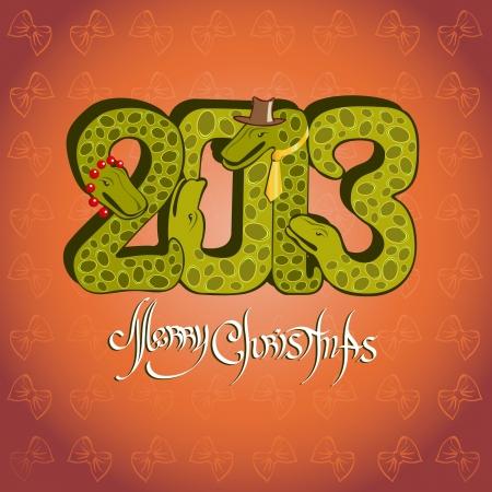 a snake in a bag: snake background christma Illustration