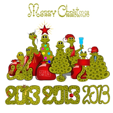 2013 snake set new year Stock Vector - 18181198