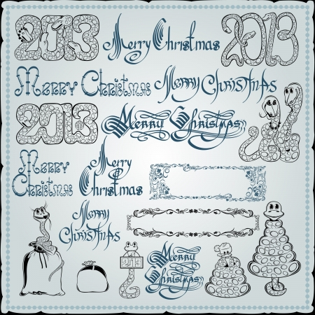 merry christmas snake element collection Stock Vector - 18181190