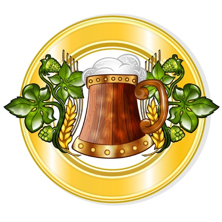 isolated wooden mug among hop into golden circle frame Vector