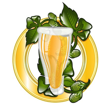 glossy icon glass of beer with hop leaves Vector