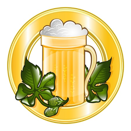 mug of foam beer icon with hope into circle frame Vector