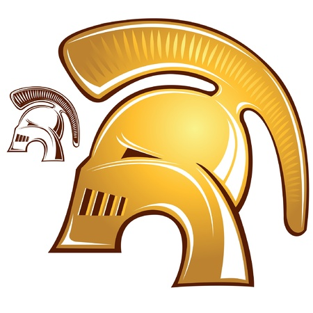 gladiator golden helmet with silhouette copy Vector