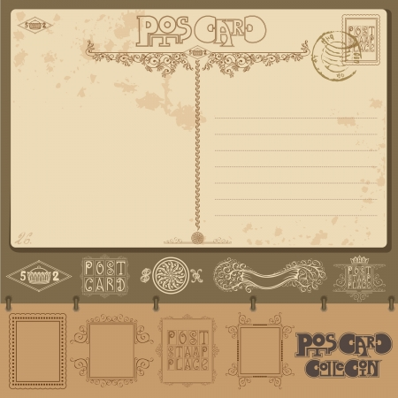 vintage post card background sample with different element Stock Vector - 18181231