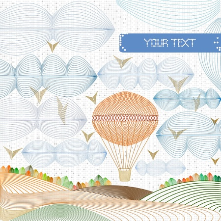 perforation: concept engraving baloon in the sky on perforation background