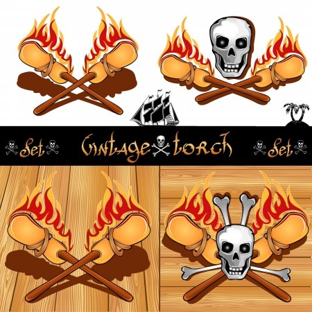 cross of torch with skull isolated and wooden background Illustration