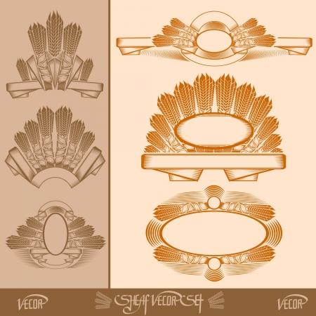 sheaf: etiquetas gavilla silhouete con la cinta y spica Vectores