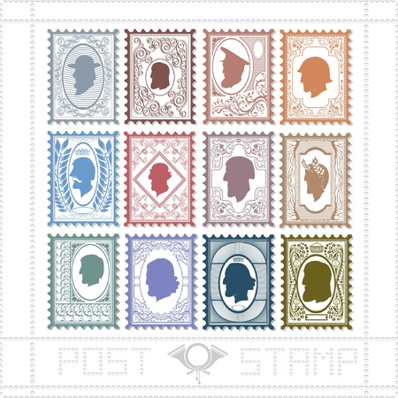 twelve post stamp with pattern and face of man Stock Vector - 18181204