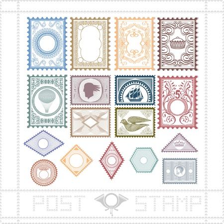 post stamp with pattern and object Stock Vector - 18204136