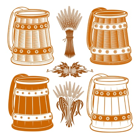 wood engraving mug with grain and hop element Stock Vector - 18204047