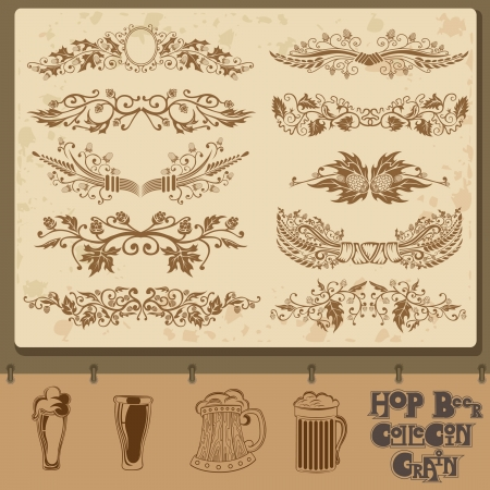 barley field: hop beer element collection with mug Illustration