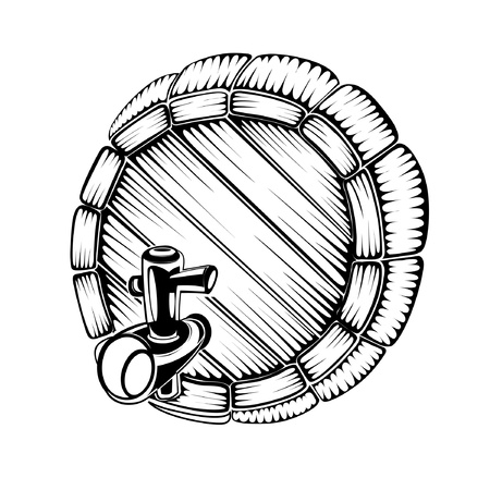 beer tap: silhouette engraving of full face barrel