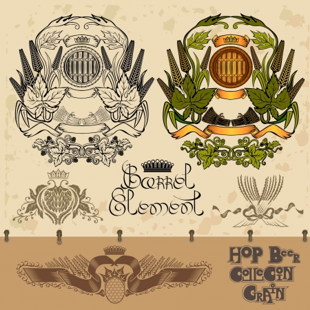 luxury hop beer grain element set Vector