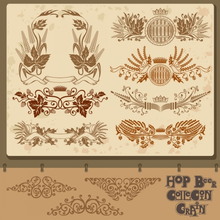 hop beer set element collection with mug Vector