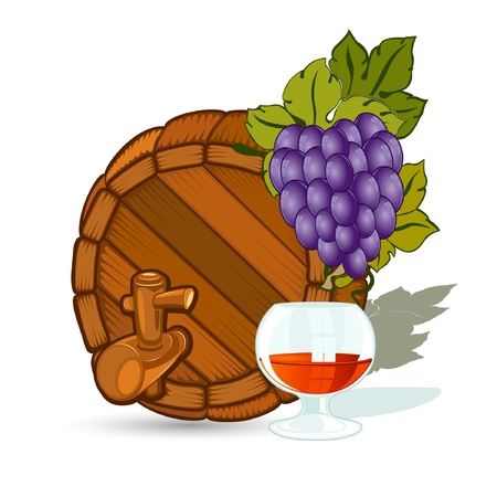 full face barrel with grape and glass Stock Vector - 18204042