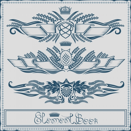 beer label with ribbon crown grain hop element Vector