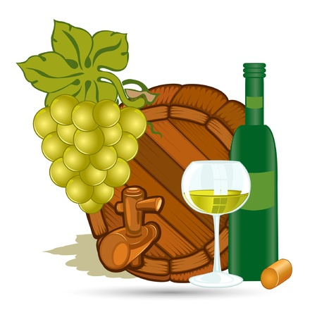 white riesling grape: old wood barrel with grape bottle and glass of white wine