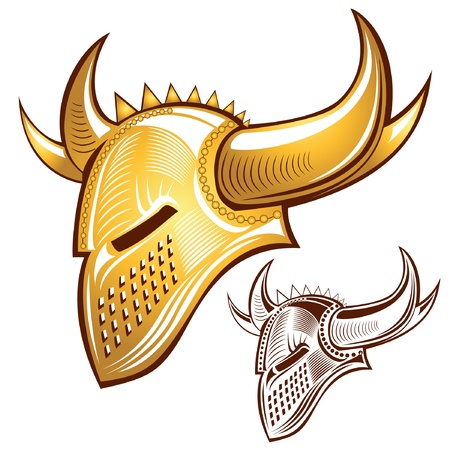 silhouette of knight golden helmet with horn Vector