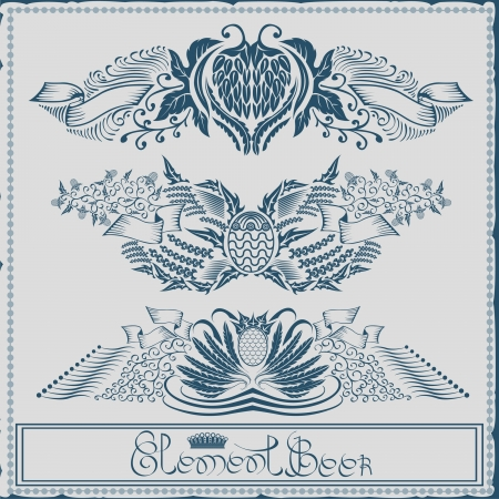 beer label with ribbon grain hop element Stock Vector - 18204103