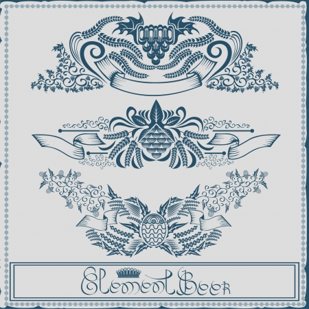 beer label with ribbon grain hop element engraving Stock Vector - 18204117