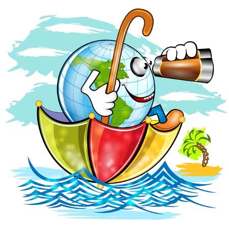 globe cartoon character swim on umbrella Stock Vector - 18204143