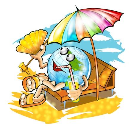 globe lay under umbrella on the beach Illustration