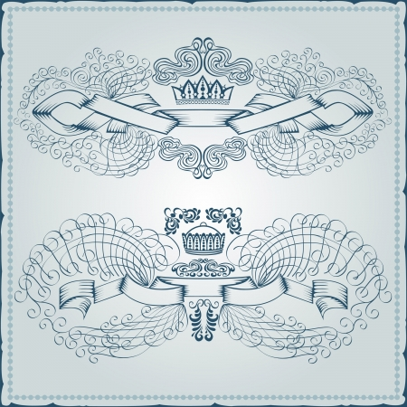 heraldic vintage royal banner element monogram engraving