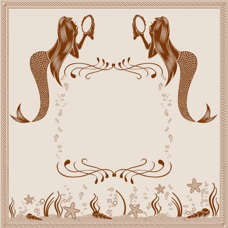 background vintage mermaid engraving marine