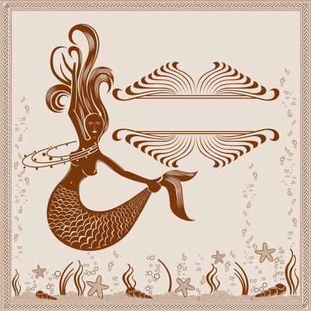 vintage background mermaid old engraving marine