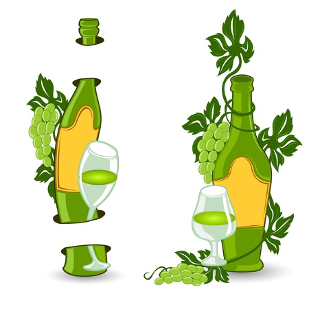 wine bottle with grape and glass Stock Vector - 18354479