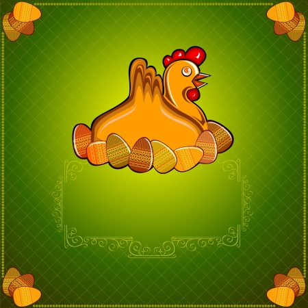 easter chicken hen wiith egg green  background